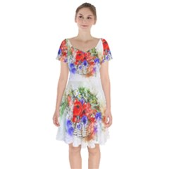 Flowers Bouquet Art Nature Short Sleeve Bardot Dress by Nexatart