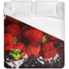 Strawberry Fruit Food Art Abstract Duvet Cover (king Size) by Nexatart