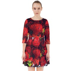 Strawberry Fruit Food Art Abstract Smock Dress