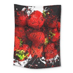 Strawberry Fruit Food Art Abstract Medium Tapestry