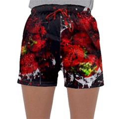 Strawberry Fruit Food Art Abstract Sleepwear Shorts