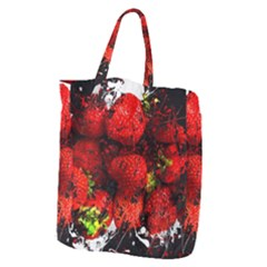 Strawberry Fruit Food Art Abstract Giant Grocery Zipper Tote