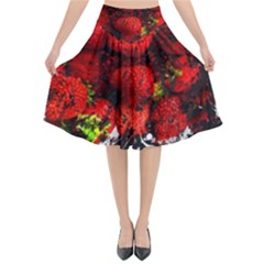Strawberry Fruit Food Art Abstract Flared Midi Skirt