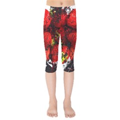 Strawberry Fruit Food Art Abstract Kids  Capri Leggings  by Nexatart