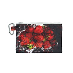 Strawberry Fruit Food Art Abstract Canvas Cosmetic Bag (small) by Nexatart