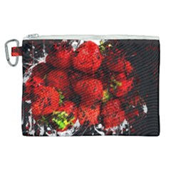 Strawberry Fruit Food Art Abstract Canvas Cosmetic Bag (xl) by Nexatart