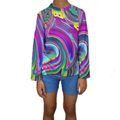 Background Art Abstract Watercolor Kids  Long Sleeve Swimwear by Nexatart