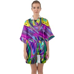Background Art Abstract Watercolor Quarter Sleeve Kimono Robe by Nexatart