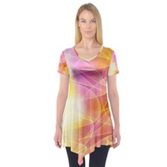 Background Art Abstract Watercolor Short Sleeve Tunic