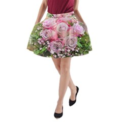 Flowers Bouquet Wedding Art Nature A Line Pocket Skirt
