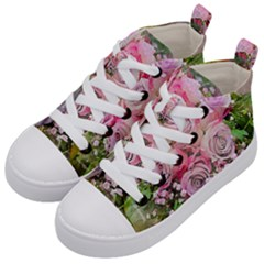 Flowers Bouquet Wedding Art Nature Kid s Mid Top Canvas Sneakers by Nexatart