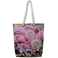 Flowers Bouquet Wedding Art Nature Full Print Rope Handle Tote (small)