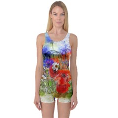 Flowers Bouquet Art Nature One Piece Boyleg Swimsuit
