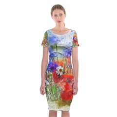Flowers Bouquet Art Nature Classic Short Sleeve Midi Dress by Nexatart