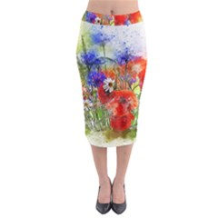 Flowers Bouquet Art Nature Midi Pencil Skirt
