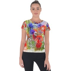Flowers Bouquet Art Nature Short Sleeve Sports Top  by Nexatart