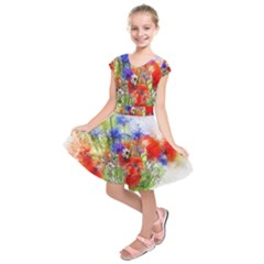 Flowers Bouquet Art Nature Kids  Short Sleeve Dress