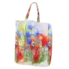 Flowers Bouquet Art Nature Giant Grocery Zipper Tote