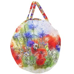 Flowers Bouquet Art Nature Giant Round Zipper Tote