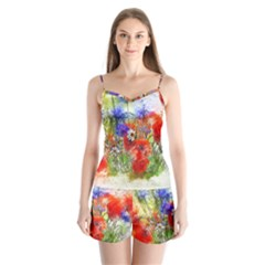 Flowers Bouquet Art Nature Satin Pajamas Set by Nexatart