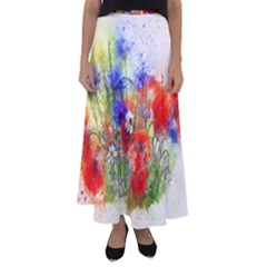Flowers Bouquet Art Nature Flared Maxi Skirt