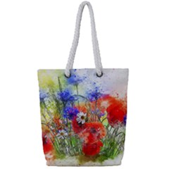 Flowers Bouquet Art Nature Full Print Rope Handle Tote (small)