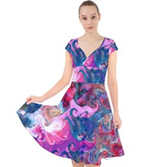 Background Art Abstract Watercolor Cap Sleeve Front Wrap Midi Dress