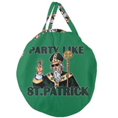 St  Patricks Day  Giant Round Zipper Tote