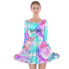 Background Art Abstract Watercolor Pattern Long Sleeve Skater Dress