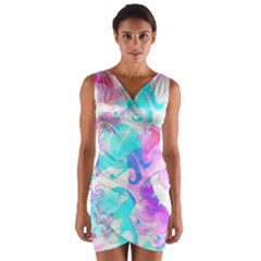 Background Art Abstract Watercolor Pattern Wrap Front Bodycon Dress