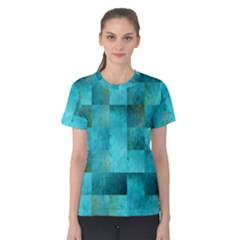 Background Squares Blue Green Women s Cotton Tee