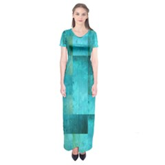 Background Squares Blue Green Short Sleeve Maxi Dress