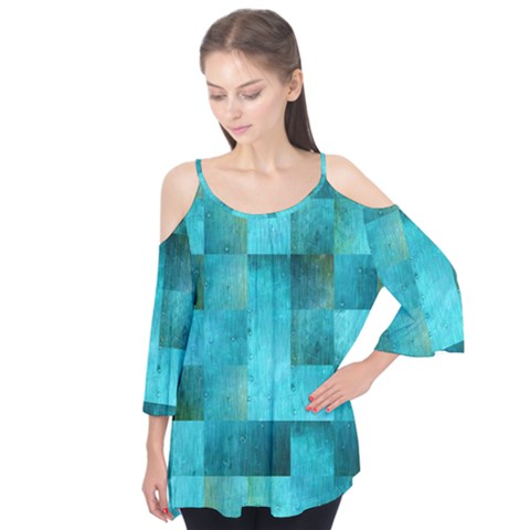 Background Squares Blue Green Flutter Tees by Nexatart