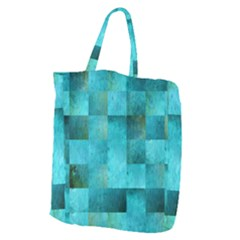 Background Squares Blue Green Giant Grocery Zipper Tote