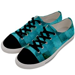 Background Squares Blue Green Men s Low Top Canvas Sneakers by Nexatart