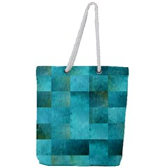 Background Squares Blue Green Full Print Rope Handle Tote (large) by Nexatart