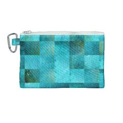 Background Squares Blue Green Canvas Cosmetic Bag (medium) by Nexatart