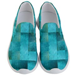 Background Squares Blue Green Men s Lightweight Slip Ons by Nexatart