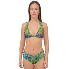 Background Art Abstract Watercolor Double Strap Halter Bikini Set