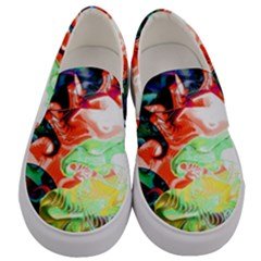 Background Art Abstract Watercolor Men s Canvas Slip Ons