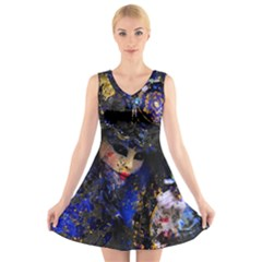 Mask Carnaval Woman Art Abstract V Neck Sleeveless Skater Dress