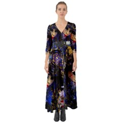 Mask Carnaval Woman Art Abstract Button Up Boho Maxi Dress