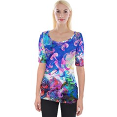 Background Art Abstract Watercolor Wide Neckline Tee