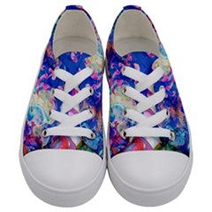 Background Art Abstract Watercolor Kids  Low Top Canvas Sneakers
