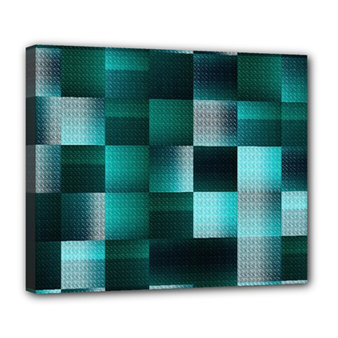 Background Squares Metal Green Deluxe Canvas 24  X 20