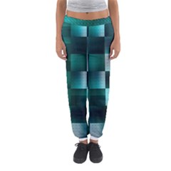 Background Squares Metal Green Women s Jogger Sweatpants
