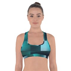 Background Squares Metal Green Cross Back Sports Bra