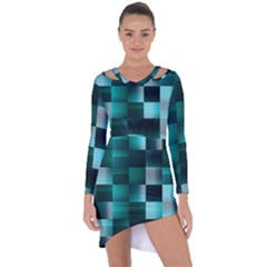 Background Squares Metal Green Asymmetric Cut Out Shift Dress