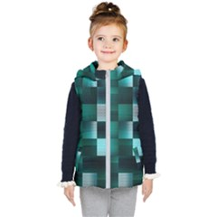 Background Squares Metal Green Kid s Puffer Vest