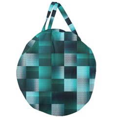 Background Squares Metal Green Giant Round Zipper Tote